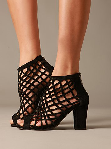 Brazze Lattice Heel :  suede heels shoes cut out