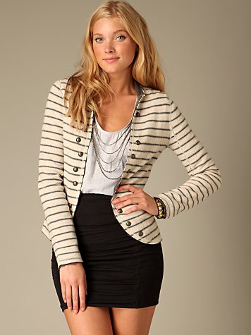Free People Clothing Boutique > Studded Stripe Blazer :  wool striped blazer studded