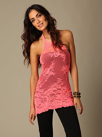 Lace Benatar Tank :  pink lace fashion top