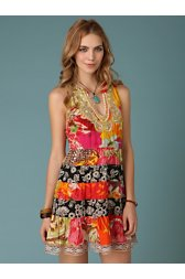 Patchwork Paisley Necklace Dress