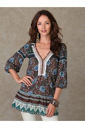 Long Sleeve Printed Dropwaist Boho Tunic