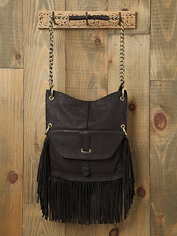 Fringe detailed leather tote bag with long messenger strap and mid-length chain strap