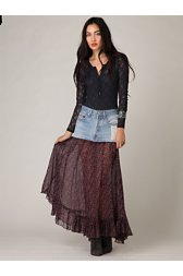 FP-1 Mini Denim Print Maxi Skirt