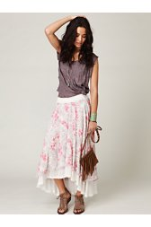 Floral High Low Maxi Skirt