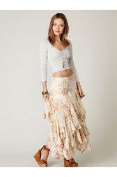 Rounded Godet Maxi Skirt