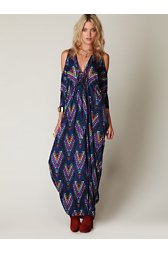 Printed Open Shoulder Kaftan