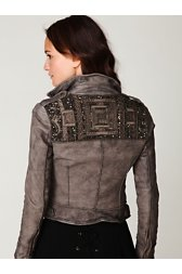 Embellished Leather Jacket