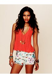 Floral Printed Denim Cutoff
