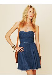 Denim Fit and Flare Tube Dress