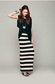 FP Beach Rugby Stripe Column Skirt at Free People