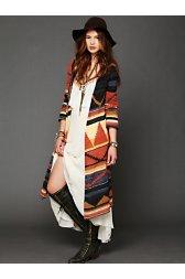 Long Pattern Hooded Cardigan