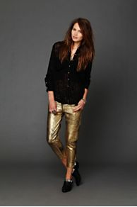 One Teaspoon Fear and Loathing Gold Leather Pants at Free People