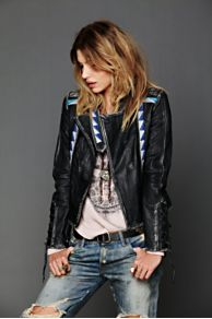 April May Vanesa Embroidered Leather Jacket at Free People