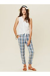 Washed Plaid Boyfriend Trouser