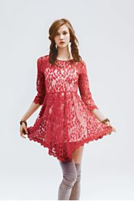 Floral Mesh Lace Dress  at Free People