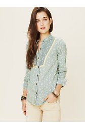 Printed Chambray Buttondown