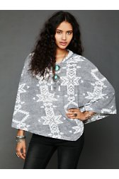 Patterned Hooded Poncho