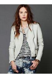 Creme Leather Jacket