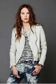 Maison Scotch Creme Leather Jacket at Free People