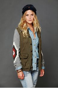 Maison Scotch Cargo Jacket with Sweater Sleeves at Free People