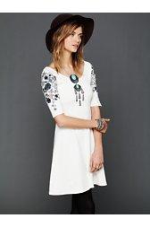 Garden Sleeve Embroidered Dress