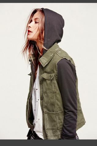 Free People Womens Knit Hooded Twill Jacket