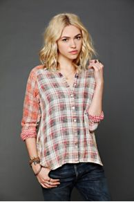 Artisan De Luxe Plaid Hi Low Buttondown Tunic at Free People