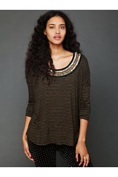 Stripe Boxy Embroidered Long Sleeve Tee