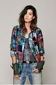 Patched Plaid Buttondown at Free People