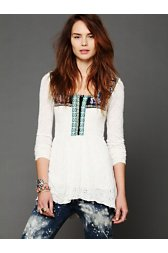 Folk Embroidered Eyelet Babydoll Top