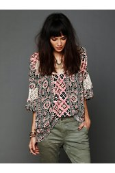 Printed Bubble Sleeve Tunic