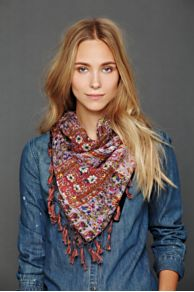 Paisley Stitch Fringe Scarf at Free People