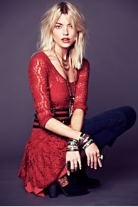 Long-Sleeve Lace Dropwaist Dress at Free People