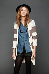 Rugby Stripe Long Cardigan at Free People