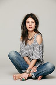 Cold Shoulder Stripe Tee at Free People
