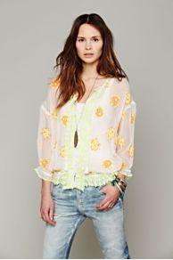 FP New Romantics Neon Embroidered Blouse at Free People