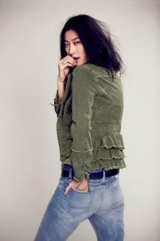 Free People Womens Military Ruffle Twill Jacket