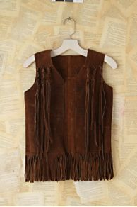 Vintage Brown Suede Fringe Vest at Free People