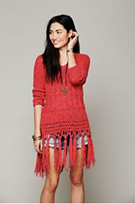 Hooded Fringe Pullover at Free People