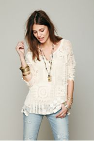 Patched Crochet Pullover at Free People