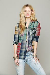 Artisan De Luxe Hi Low Patched Plaid Shirt at Free People