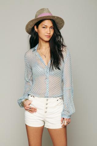 Free People Womens Sheer Dot Buttondown Shirt