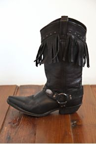 Vintage Black Leather Fringe Boots at Free People