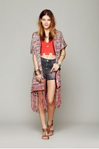 Fringe Hooded Cardigan at Free People
