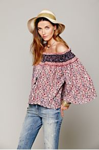 Printed Off Shoulder Blouse at Free People