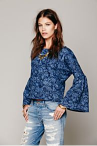 Bell Sleeve Floral Pullover at Free People