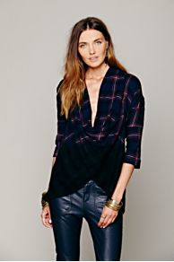 FP New Romantics Plaid Wrap Top at Free People