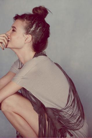 Illia Womens Leather Fringe Harness