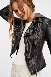 Vegan Leather Hooded Motorcycle Jacket at Free People