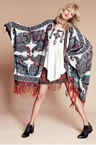 Hendrix Yarn Fringe Poncho  at Free People